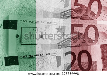 Euro banknotes, switch and Italy flag - stock photo