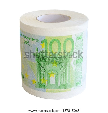 100 Euro banknotes toilet paper roll isolated on white background - stock photo