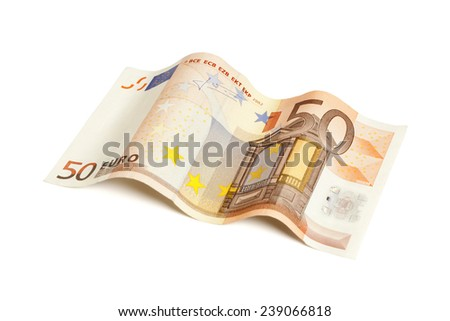 50 Euro bill in wave shape isolated with clipping path - stock photo