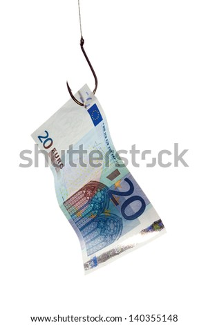 20 euro bill on a fishhook isolated on white - stock photo