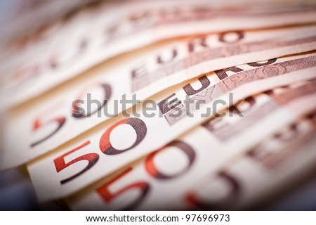 50 Euro Bills. Fifty Euros Bills in Macro Photography.