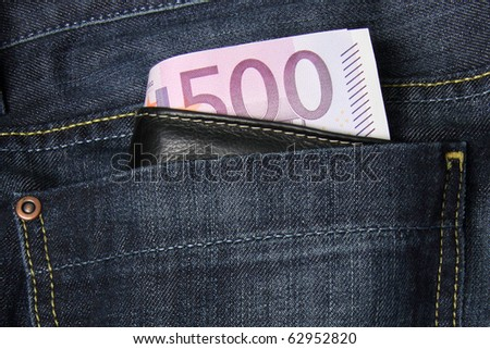 500 Euro bills in a jeans pocket - stock photo