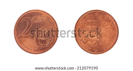 2 Euro cent coin, isolated on white - stock photo