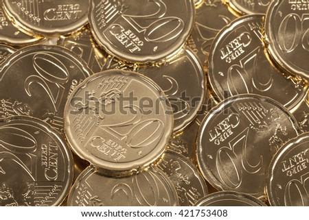 20 Euro cent coins - stock photo