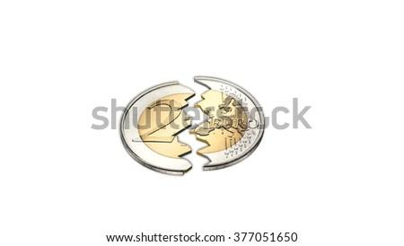 2 euro coin broken - isolated on white background - stock photo
