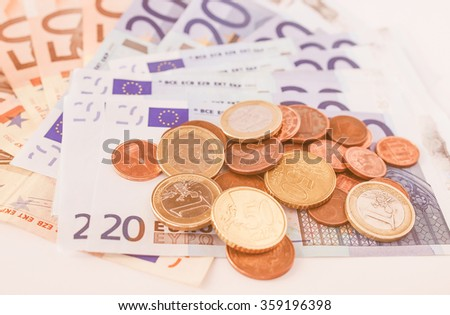 Euro coins and banknotes currency of the European Union vintage