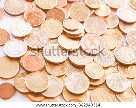 Euro coins currency of the European union vintage