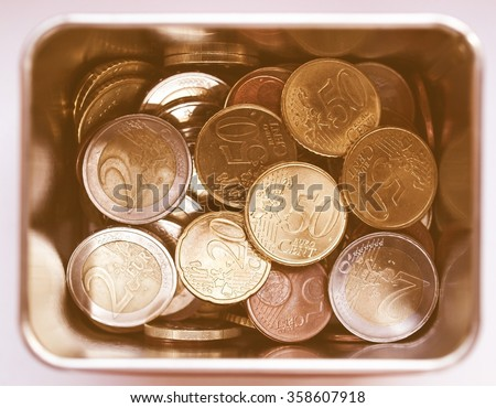 Euro coins money (European currency) in a box vintage
