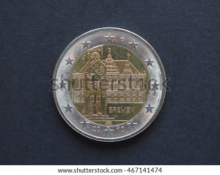 2 Euro (EUR) coin - commemorative coin from Germany, Bundeslander series, showing the City Hall and Roland statue in the Hanseatic city of Bremen