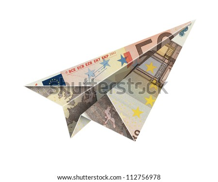 50 euro fly -Bill paper airplane flying over a white background with clipping path - stock photo