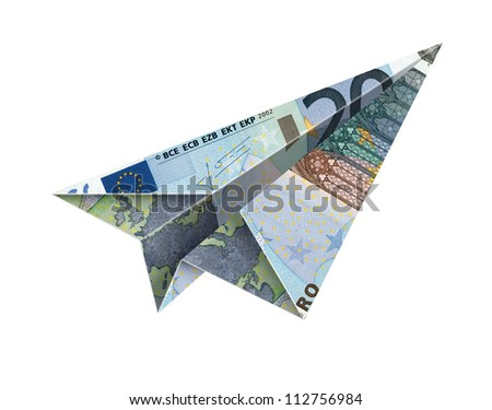 20 euro fly -Bill paper airplane flying over a white background with clipping path - stock photo