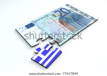 20 Euro note from top as a puzzle - one piece separately - extra piece with Greece / greek flag on it - stock photo