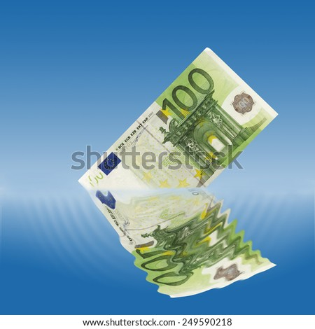 100 euro note sinking in water - stock photo