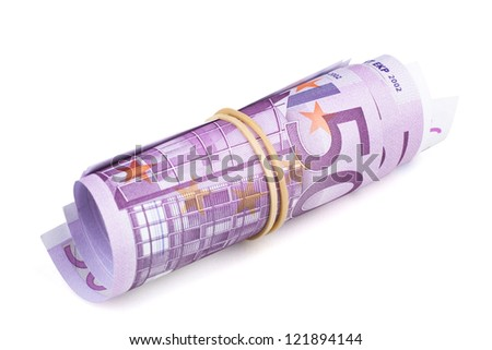 500 Euro rolled up on white background. Five thousand euro banknotes rolled up on white background. CLIPPING PATH INCLUDED. - stock photo