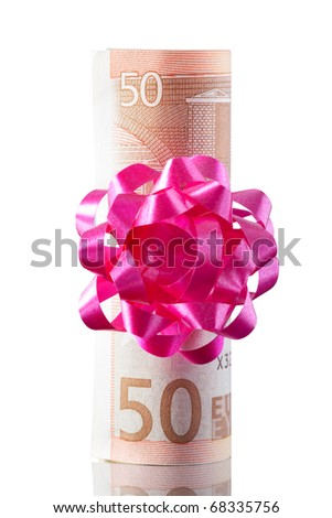 50 euro with a bow as gift isolated on white with clipping path - stock photo