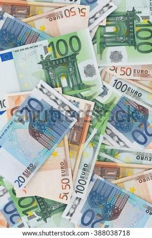 European money - a lot of Euro banknotes background  - stock photo