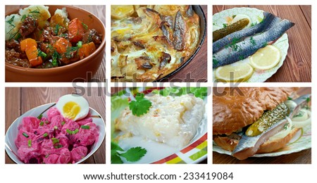 European  Scandinavia cuisine.Food set