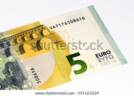 5 euros bank note. Euro is the national currency of the European Union - stock photo