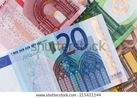 20 Euros banknote, close-up detail - stock photo