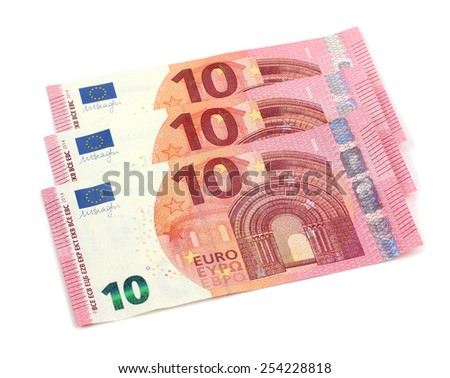 10 Euros notes fanned out on a white background - stock photo
