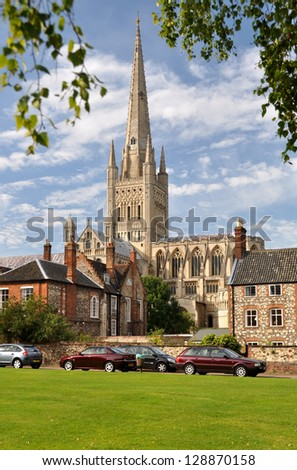Evening at Norwich Cathedral, England, UK. - stock photo