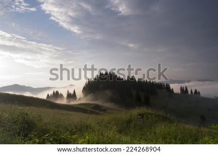 evening mountain plateau landscape (Carpathian, Ukraine) - stock photo
