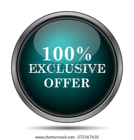 100% exclusive offer icon. Internet button on white background.  - stock photo