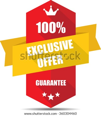 100% exclusive offer red Label, Sticker, Tag, Sign And Icon Banner Business Concept, Design Modern With Crown. - stock photo