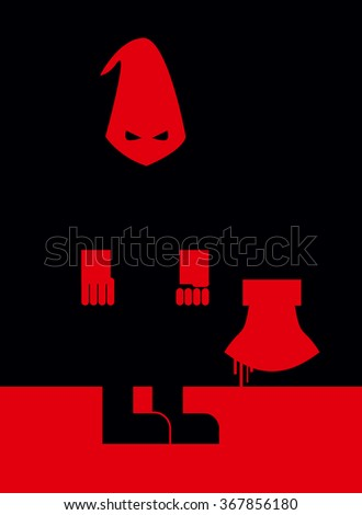 Executioner in mask and with an axe. Scary Punisher stands in  blood at night. illustration of torturerin stereotypical attire. Person commits penalty. Blood flows down with an axe. - stock photo