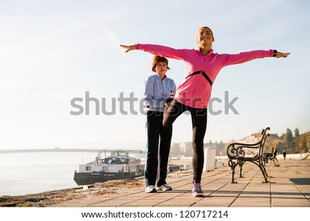 exercise on coasts river - stock photo