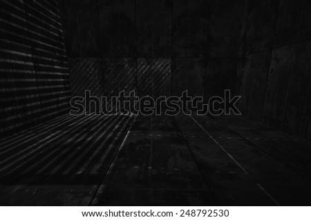 Extra Dark Tiled Room - stock photo