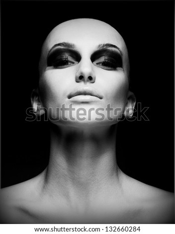 Extreme. Portrait of Eccentric Hairless Woman. Shaved Skull. Futurism - stock photo