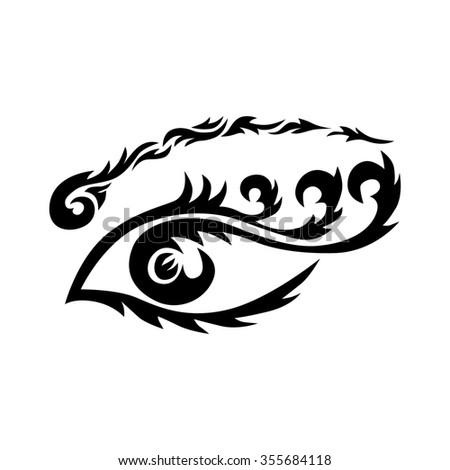 Eye tattoo. Maori tribal tattoo - Eye tribal tattoo in polynesian style. Celtic ornament in traditional medieval style for ethnic embellishment and tattoo design. Stylized ornamental eye.  - stock photo