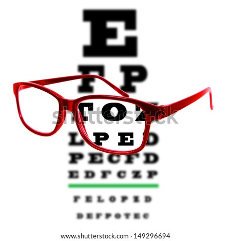 Eye vision test chart seen through eye glasses, white background isolated.
