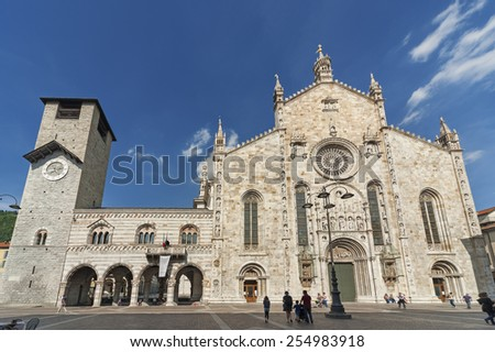 facade of Cathedral in Como city, Lombardy, Italy   - stock photo