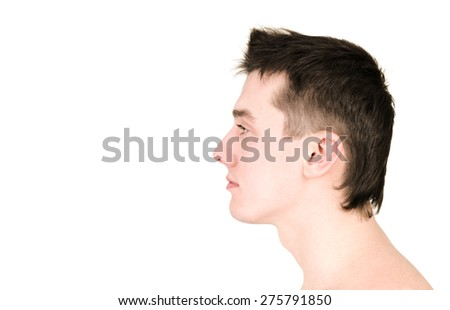 face of a young man in profile