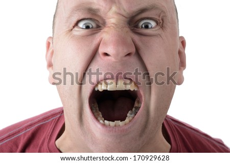 Facial Expression shouting screaming man isolated on a white background - stock photo