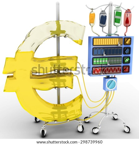 4 Factors that affect the value of the Euro: gold price, oil price, the value of the foreign currency over domestic currency, terrorist attacks or wars. Health of Euro Currency Concept.  - stock photo