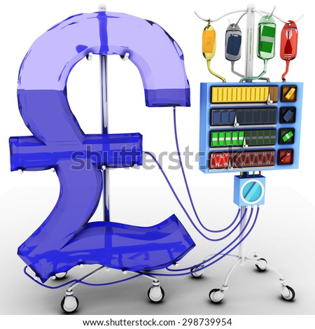 4 Factors that affect the value of the UK Pound : gold price, oil price, the value of the foreign currency over domestic currency, terrorist attacks or wars. Health of UK Pound Currency Concept.  - stock photo