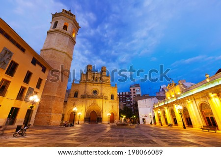 Fadri tower and Cathedral at Castellon de la Plana in night. Valencian Community, Spain