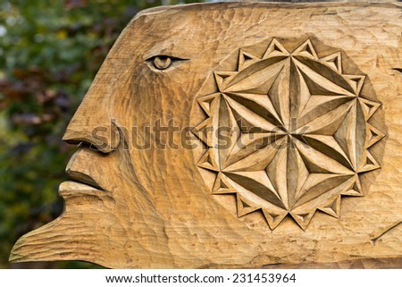 Fairy-like wooden figures from primaeval Slawic tales  - stock photo