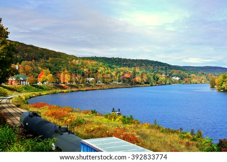 Fall in Green Mountains and Connecticut River - stock photo