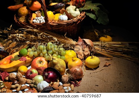 fall still life arrangement with fruits and vegetables