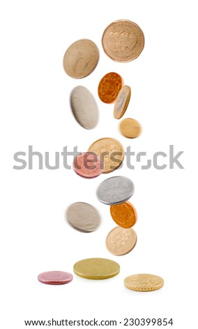 falling coins isolated on white background - stock photo