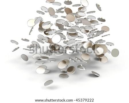Falling golden money. 3d image. - stock photo