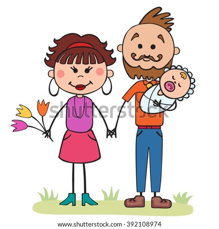 family  illustration, parents with baby, cartoon design