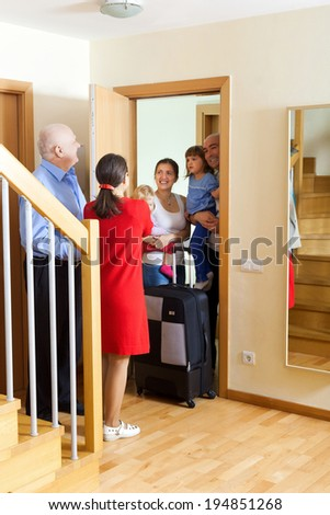 Family of three is coming to kinsmans - stock photo