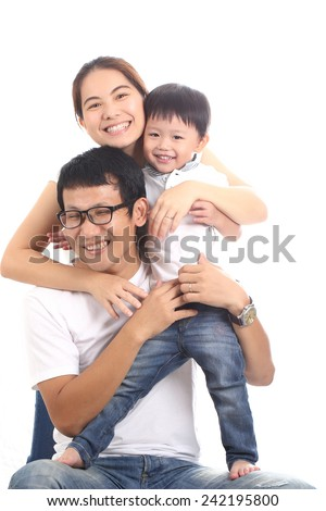 Family portrait with white background