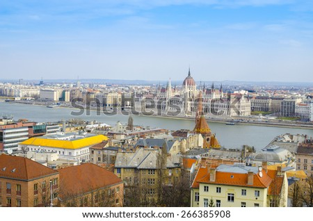 Fantastic Scenic view of the Hungarian Parliament and Pest roofs, Budapest, Hungary