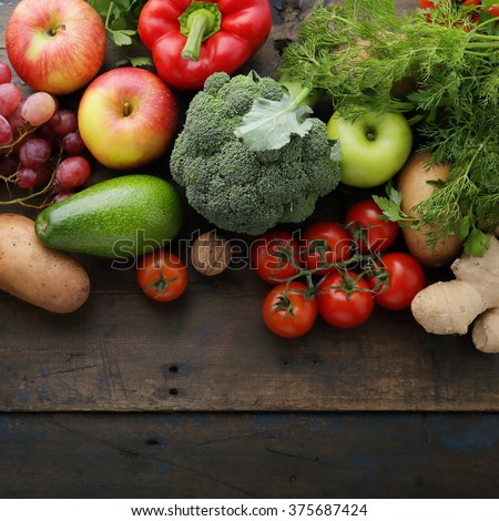 farm vegetable and fruits top view - stock photo